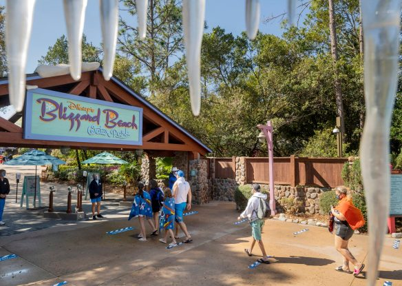 Guests lined up to enter Blizzard Beach Water Park