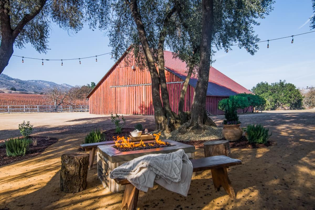 Outdoor area with fire pit at Vintage Ranch