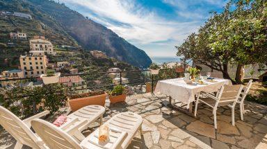 Terrace overlooking Riomaggiore and the sea