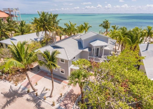 aerial of beachfront house in captiva