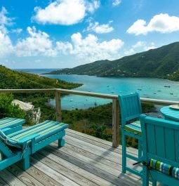 furnished deck overlooking the water