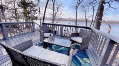 outdoor deck of rental cabin