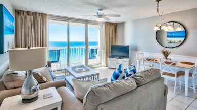 Living room furniture with ocean view from balcony