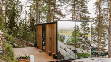 Mirrored walled cabin