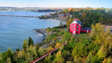 Aerial view over Marquette's Lighthouse Park