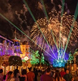 Fireworks and projections on Cinderella Castle and Main Street, U.S.A. in Disney World
