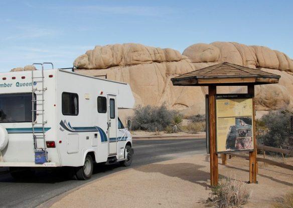 camper at Jumbo Rocks Campground